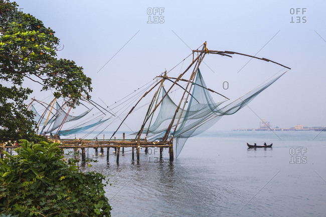 India, Kerala, CochinKochi, Fort Kochi, Chinese fishing nets