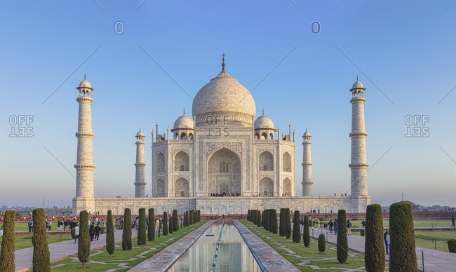February 15, 2020: Taj Mahal at sunrise, Agra, Uttar Pradesh, India