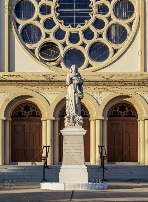February 18, 2020: Our Lady of the Assumption Statue in front of the Holy Trinity Cathedral, Kingston, Kingston Parish, Jamaica