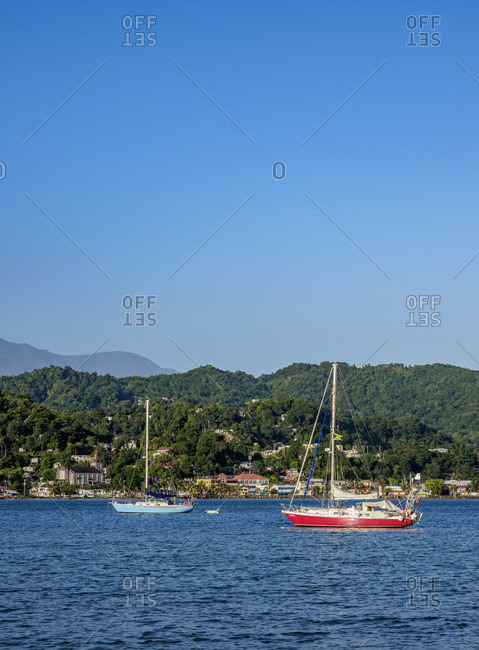 February 21, 2020: View over East Harbor towards Port Antonio and Blue Mountains, Portland Parish, Jamaica