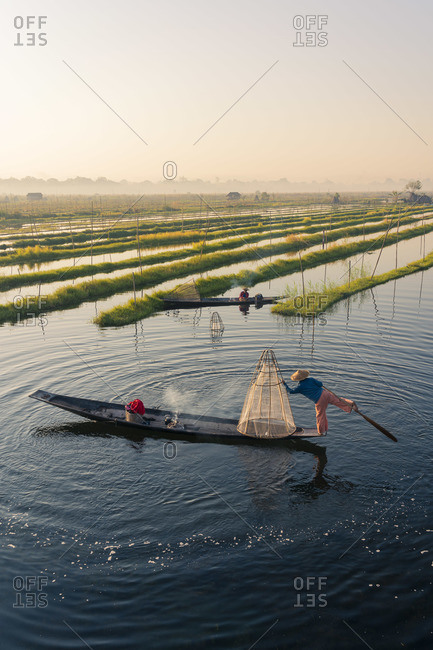 February 14, 2020: Leg-rowing fisherman with a traditional conical net rowing by Floating Gardens on Lake Inle on early morning, Lake Inle, Nyaungshwe Township, Taunggyi District, Shan State, Myanmar