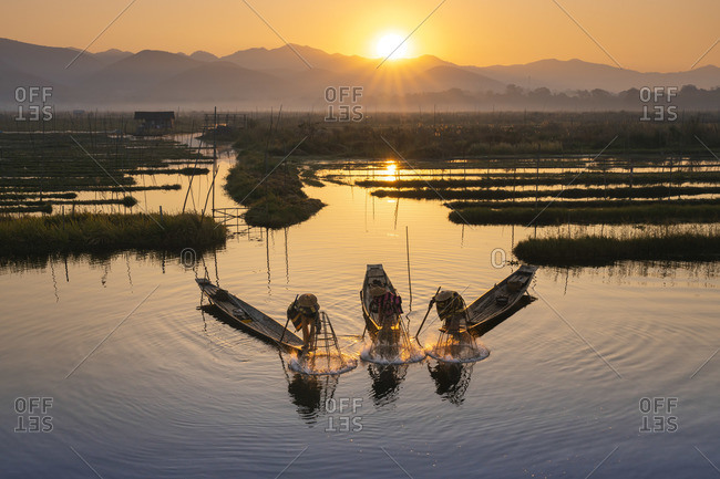 February 14, 2020: Three fishermen catching fish from boats using traditional conical nets at sunrise, Floating Gardens, Lake Inle, Nyaungshwe Township, Taunggyi District, Shan State, Myanmar