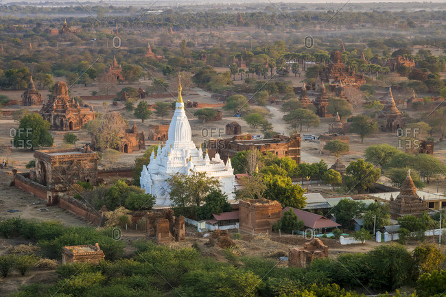 Aerial view of famous Lemyethna Temple, UNESCO, Nyaung-U, Old Bagan, Mandalay Region, Myanmar