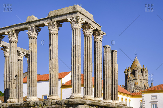 The Roman Temple of Diana and the Tower of the Se Catedral (Motherchurch). A Unesco World Heritage Site, Evora, Portugal