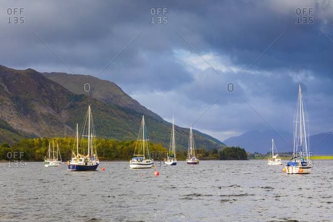October 2, 2018: Boats on Loch Leven, Glencoe, Scotland, UK