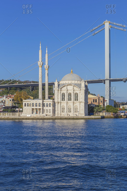 October 14, 2019: Ortakoy Mosque, 1856, Bosphorus, Istanbul, Turkey