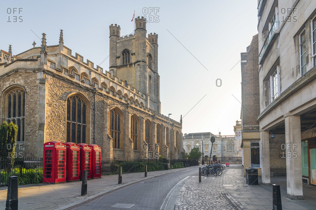 April 21, 2020: UK, England, Cambridgeshire, Cambridge, Market Square, St. Mary's Street, Great St. Mary's Church, Traditional Telephone Boxes