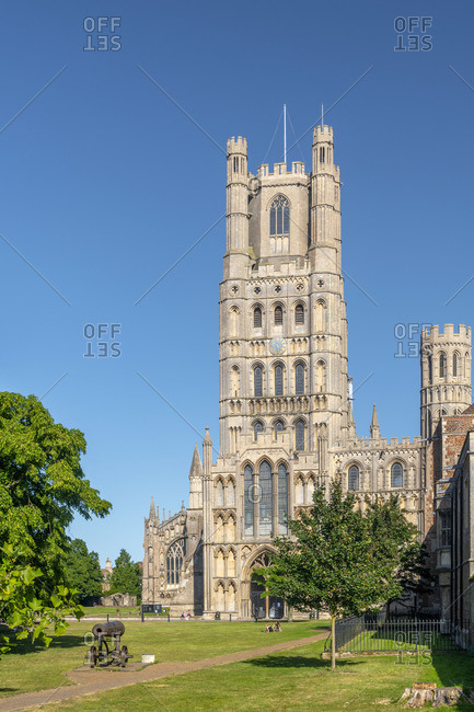 UK, England, Cambridgeshire, Ely, Palace Green, Ely Cathedral, West Tower, West Front and Galilee Porch