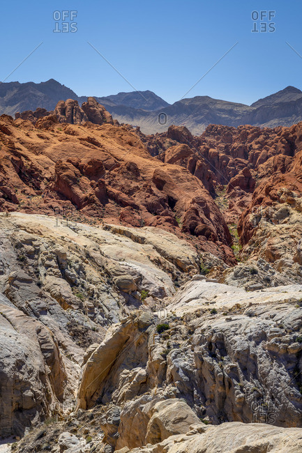 Scenic view of Fire Canyon and Silica Dome, Valley of Fire State Park, Nevada, Western United States, USA