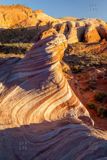 Fire Wave rock formation before sunset, Valley of Fire State Park, Nevada, Western United States, USA