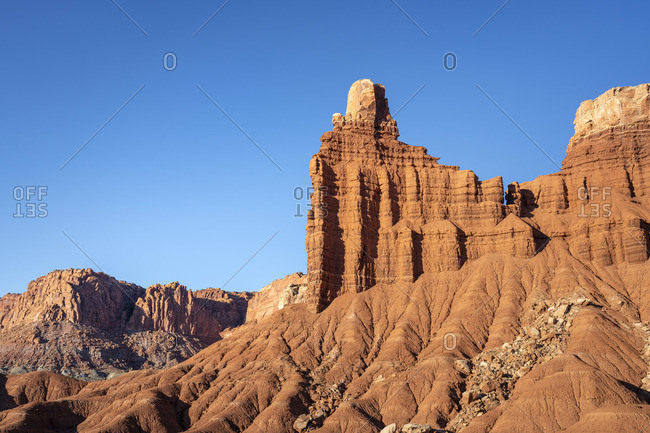 Low angle view of Chimney Rock, Capitol Reef National Park, Utah, Western United States, USA