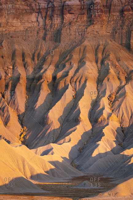 Detail of badlands at South Caineville Mesa at sunset, Caineville, Utah, Western United States, USA