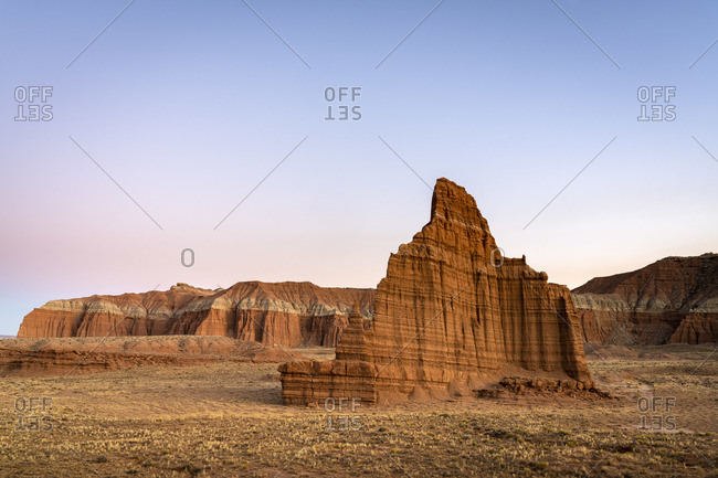 Temple of the Moon at dusk, Cathedral Valley, Capitol Reef National Park, Utah, Western United States, USA