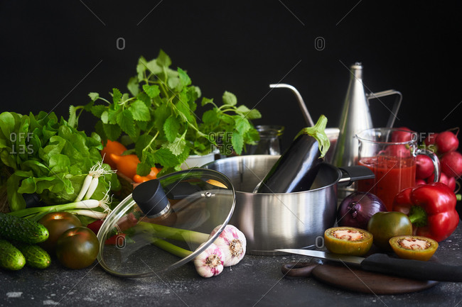 Fresh vegetables and pot still life