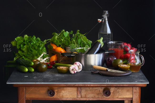 Fresh vegetables and pot on kitchen cart
