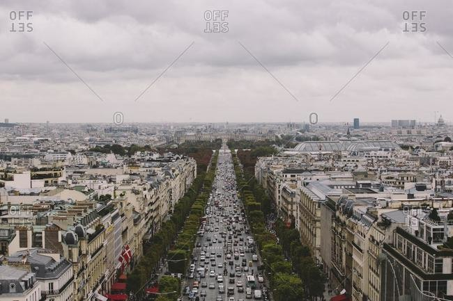 June 15, 2020: Aerial view of Champs- Elysees from Arc de Triomphe, Paris, France