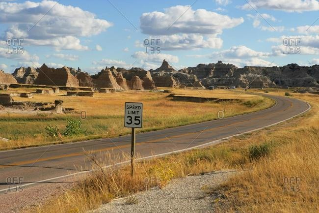Road through Badlands National Park, South Dakota, USA