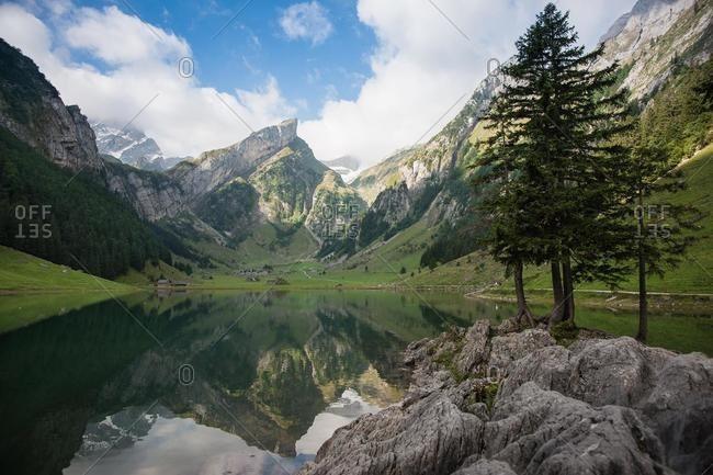 Seealpsee and mountain landscape, Appenzell Innerrhoden, Switzerland