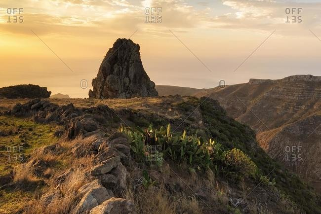 Mountain landscape at sunrise, San Sebastian de La Gomera, La Gomera, Canary Islands, Spain