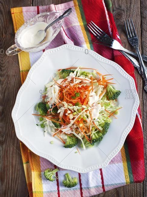 Coleslaw salad with mayonnaise and yogurt dressing