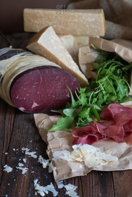 Bresaola, parmesan cheese and rucola