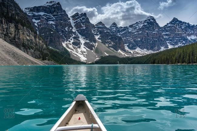 Canoeing towards the Valley of Ten Peaks on Moraine Lake, Canadian Rockies, Banff National Park, Alberta, Canada