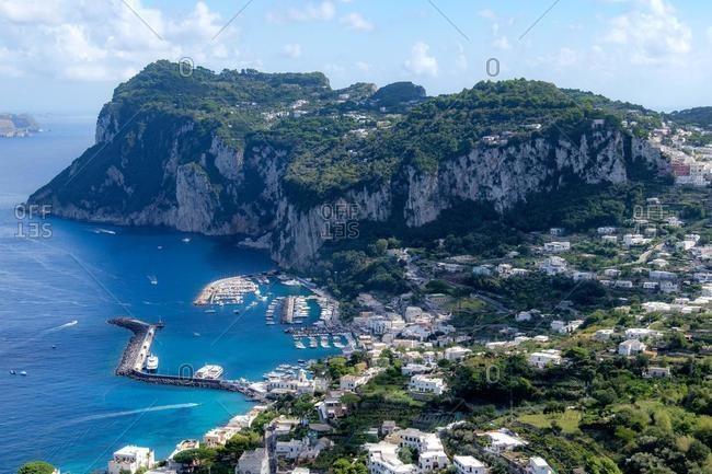 Aerial view of Marina Grande, Capri, Italy