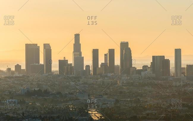 June 15, 2020: City skyline at sunset, Los Angeles, California, United States