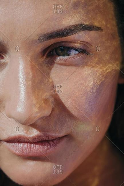 Close-up of sunlight on a woman's face