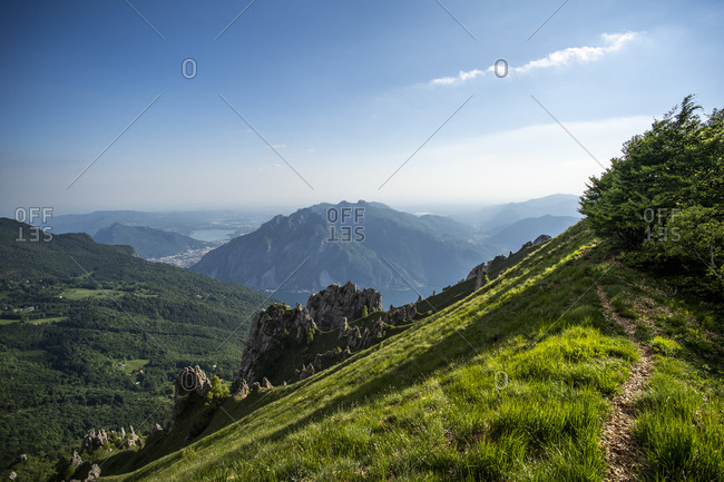 Scenic view of Grignetta mountain range against blue sky- European Alps- Lecco- Italy