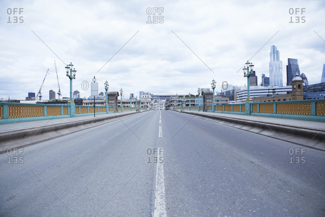 UK- England- London- Empty road of Southwark Bridge