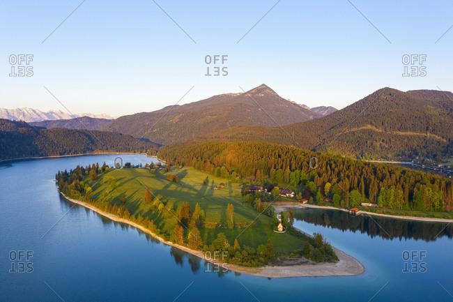 Germany- Bavaria- Aerial view of Zwergern peninsula at springtime dawn