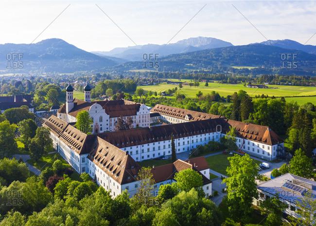 May 19, 2020: Germany- Bavaria- Drone view of Benediktbeuern Abbey in spring