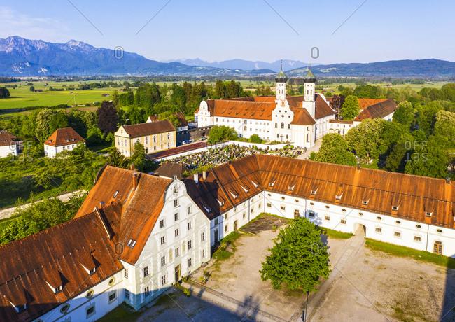 May 19, 2020: Germany- Bavaria- Drone view of meierhof of Benediktbeuern Abbey in spring
