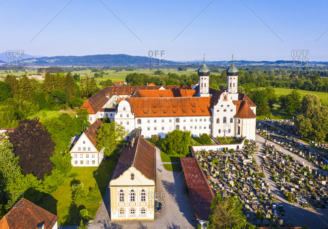 May 19, 2020: Germany- Bavaria- Drone view of library and cemetery of Benediktbeuern Abbey in spring