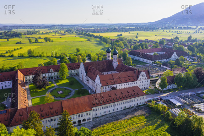 May 19, 2020: Germany- Bavaria- Drone view of courtyard of Benediktbeuern Abbey in spring