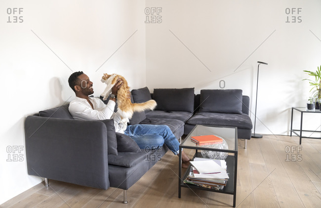 Man sitting on couch in modern apartment playing with his cat