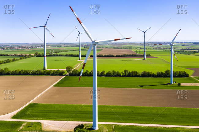 Germany- Rhineland-Palatinate- Gabsheim- Helicopter view of countryside wind farm in summer