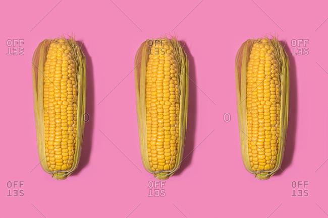 Studio shot of three corns against pink background