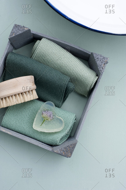 Nail brush- towels and chive cast in heart shaped bar of glycerin soap