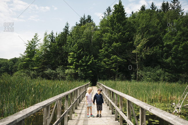 Brother and sister holding hands while standing on wooden footbridge over marsh
