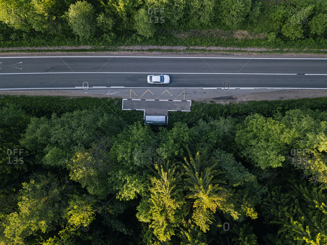 Russia- Leningrad Oblast- Tikhvin- Aerial view of car stopped at remote bus stop in middle of vast green forest