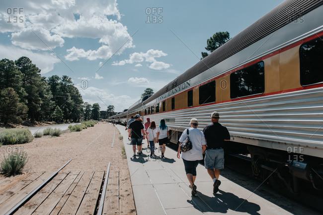 Grand Canyon, Arizona - July 27, 2018: People going on a train