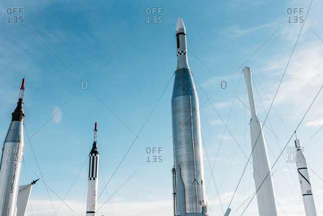 Brevard County, Florida - July 25, 2019: Rocket Garden at the Kennedy Space Center
