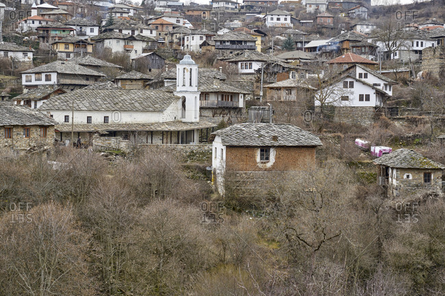 Homes on the hillside in the village of Dolen, Bulgaria
