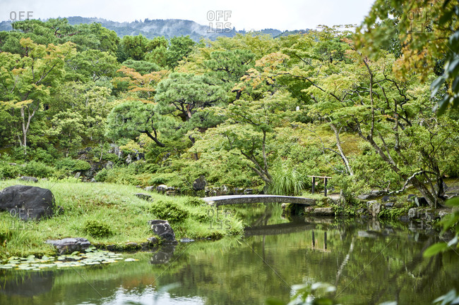 Bridge over pond in the Isui-en Japanese garden located in Nara, the old capital of Japan