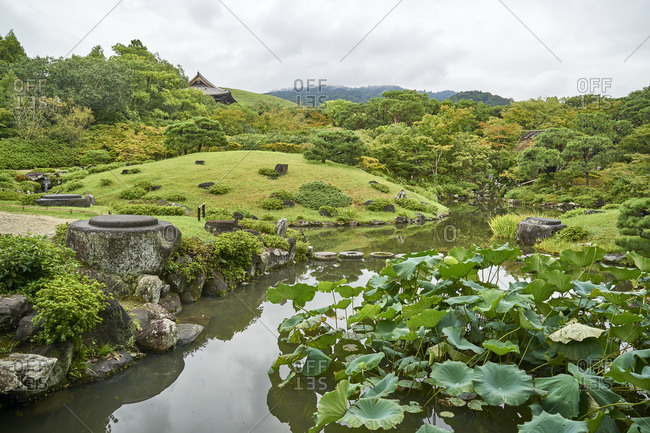 Beautiful view of the Isui-en Japanese garden located in Nara, the old capital of Japan