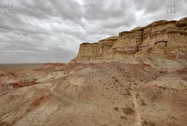 Ancient remains of Tsagaan Suvarga (White Stupa) in the Gobi Desert, Mongolia