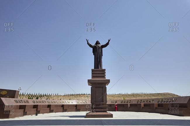 Ashgabat, Turkmenistan - May 17, 2016: Statue at the Halk Hakydasy Memorial Complex