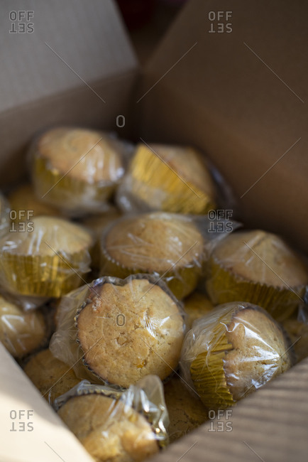 Cornbread muffins individually wrapped in a box